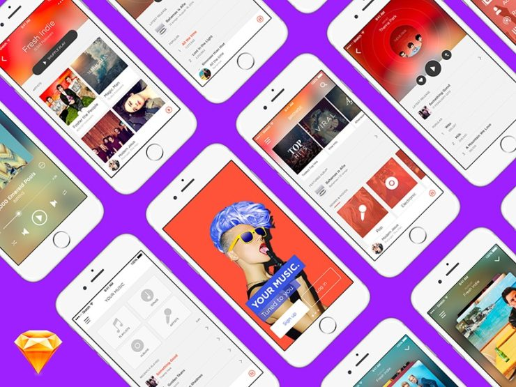 Free UI Kit Sketch — Music App